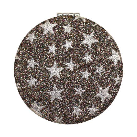Silver Glitter Stars Personal Mirror