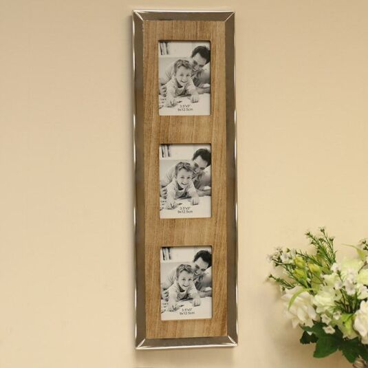 Slim Triple 5x3.5 Wooden Frame with Chrome Edge