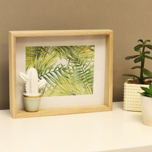 Cactus Deep Wooden Photo Frame 7x5