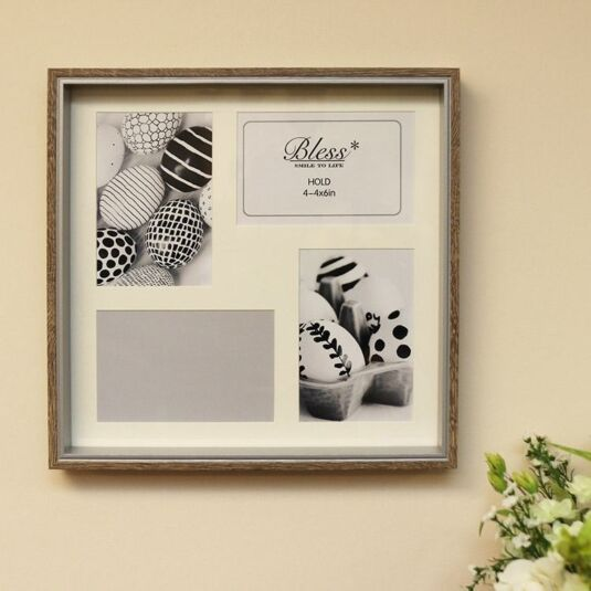 Wood & Silver Box Collage Photo Frame 4 6x4