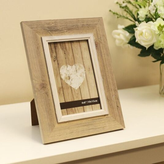 "6 x 4"" Beige Wooden Frame with lighter trim"