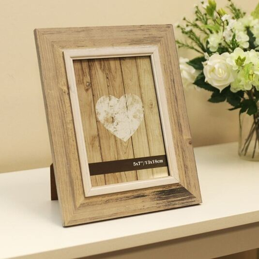 "7 x 5"" Beige Wooden Frame with lighter trim"
