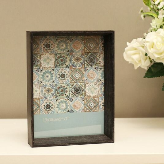 "7 x 5"" Inset Box Wooden Sofine Frame in grey"