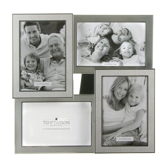 Satin Silver Collage Photo Frame 4 6x4 | Temptation Gifts