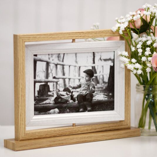 Light Wood & White Rotating Double Photo Frame 7x5