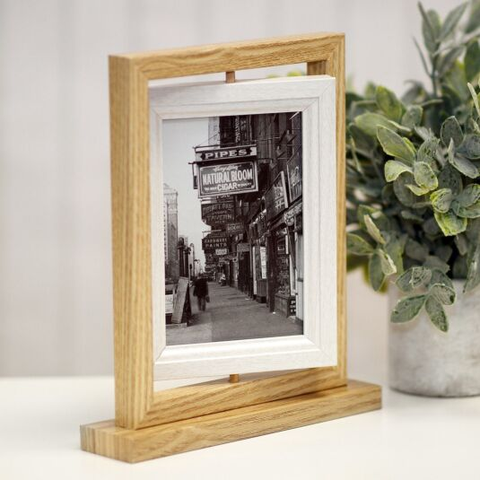 Light Wood & White Rotating Double Photo Frame 6x4