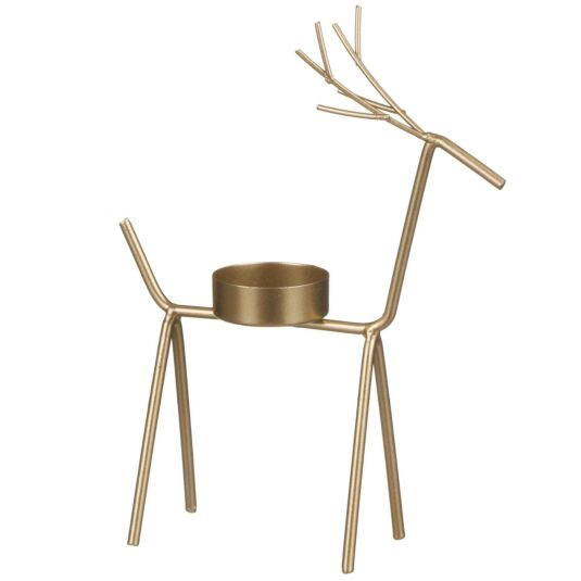 Large Golden Reindeer Tealight Candle Holder
