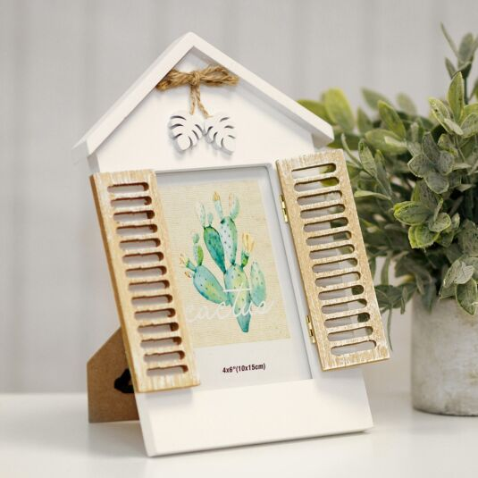 White Window Photo Frame with Shutters 6x4