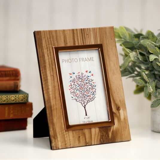 Woodgrain & Rose Gold Frame Photo 6x4