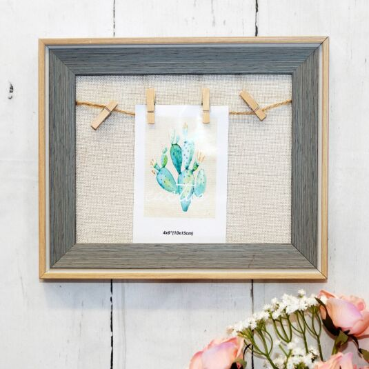 Single String Wood & Grey Bevelled Photo Frame