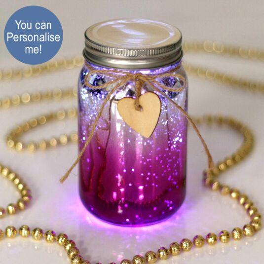 Pink & Silver LED Firefly Jar