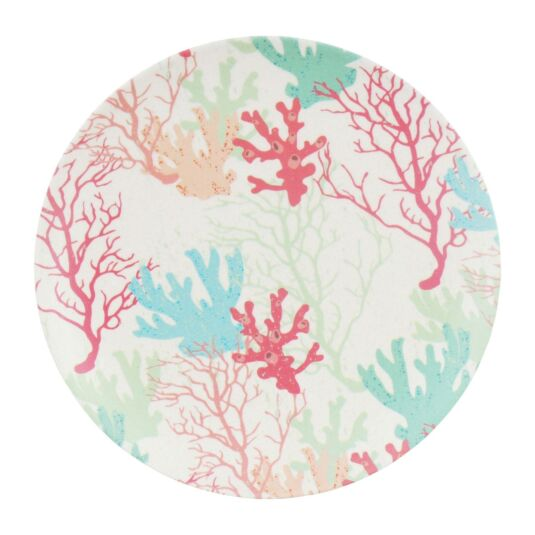 Bamboo Fibre Coral 8 Inch Plate