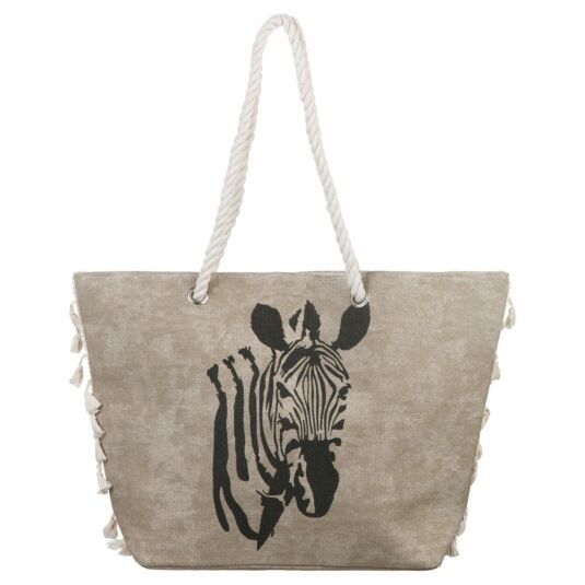 Taupe Zebra Tasselled Beach Bag