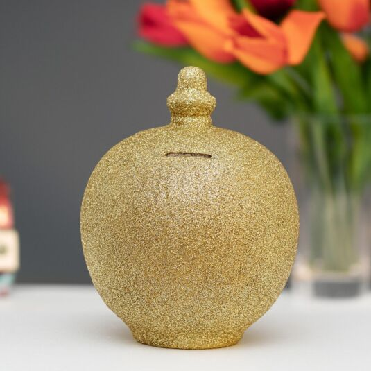 Gold Glitter Money Pot