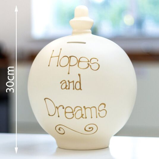 'Hopes and Dreams' Gold on Cream Large Money Pot