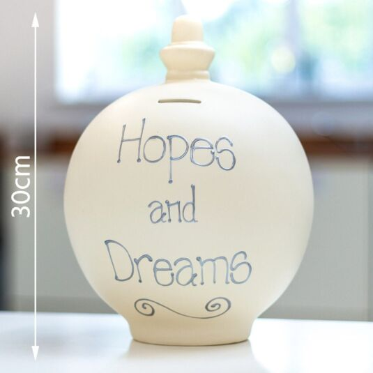 'Hopes and Dreams' Silver on Cream Large Money Pot