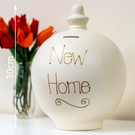 'New Home' Gold on Cream Large Money Pot