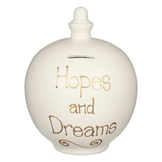 'Hopes and Dreams' Gold on Cream Money Pot