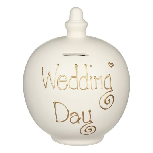 'Wedding Day' Gold on Cream Money Pot