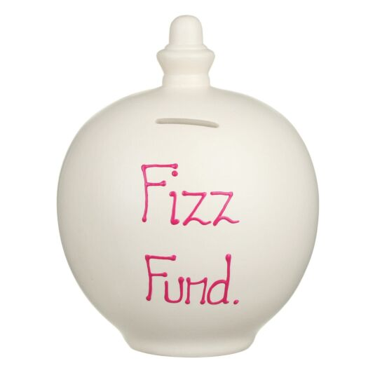 'Fizz Fund' Pink on Cream Small Money Pot