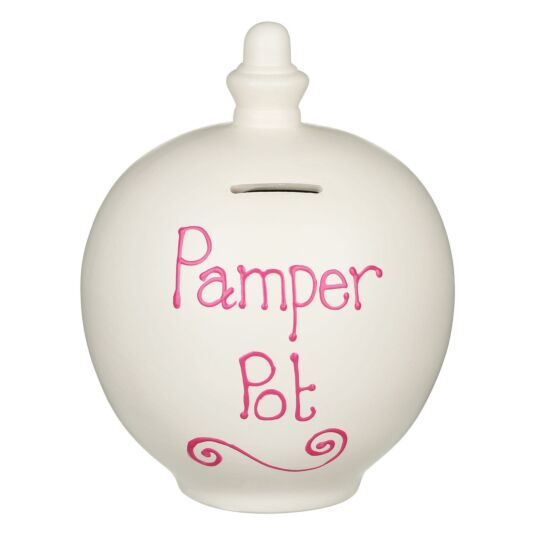 'Pamper Pot' Pink on Cream Money Pot