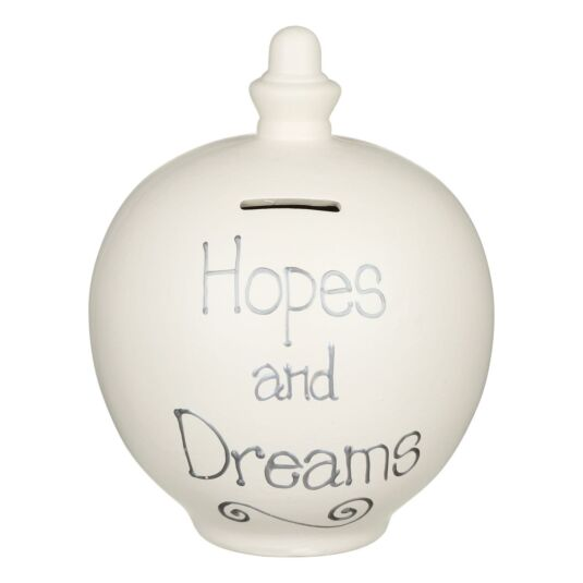 'Hopes and Dreams' Silver on Cream Money Pot