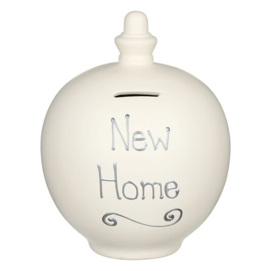 'New Home' Silver on Cream Small Money Pot