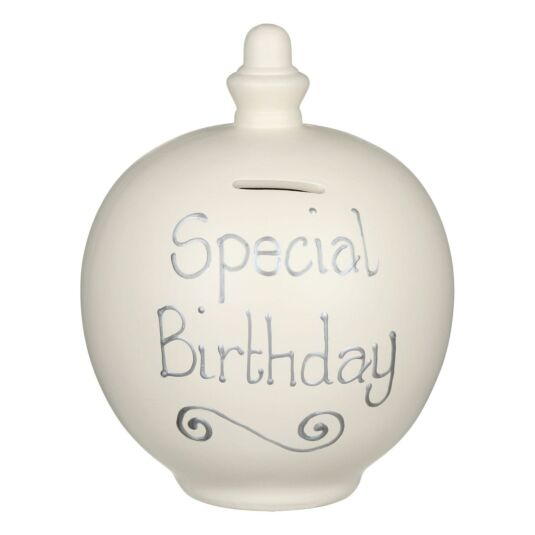 'Special Birthday' Silver on Cream Small Money Pot
