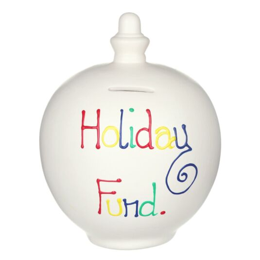 'Holiday Fund' Multi-Colour on Cream Small Money Pot