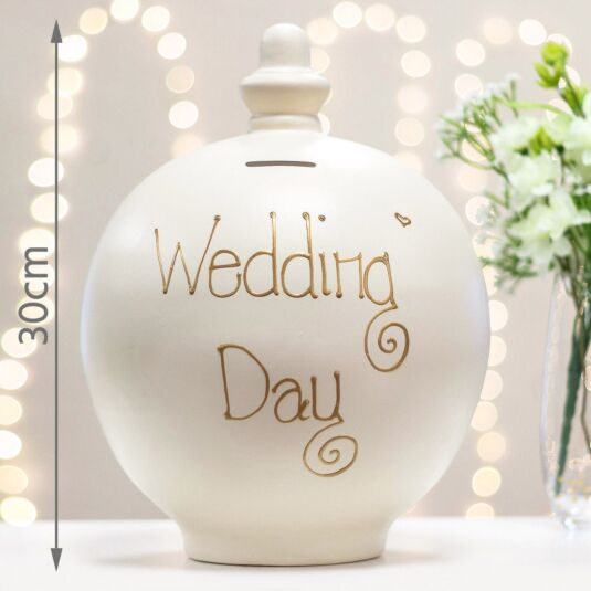 Extra Large 'Wedding Day' Gold on Cream Money Pot