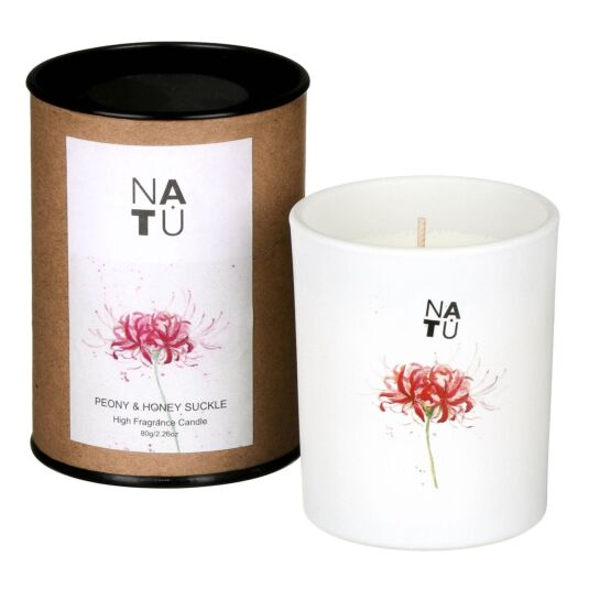 NATU Peony & Honeysuckle Fragranced Candle