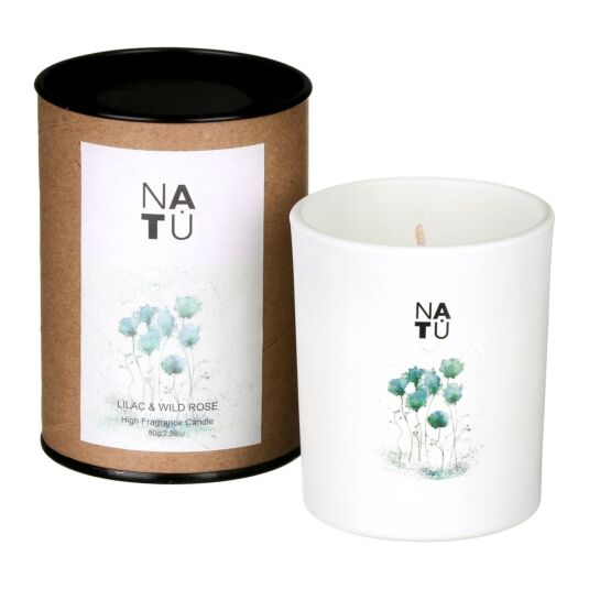 NATU Lilac & Wild Rose Fragranced Candle