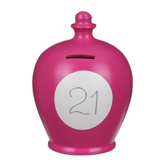 """21"" Pink and White Money Pot"