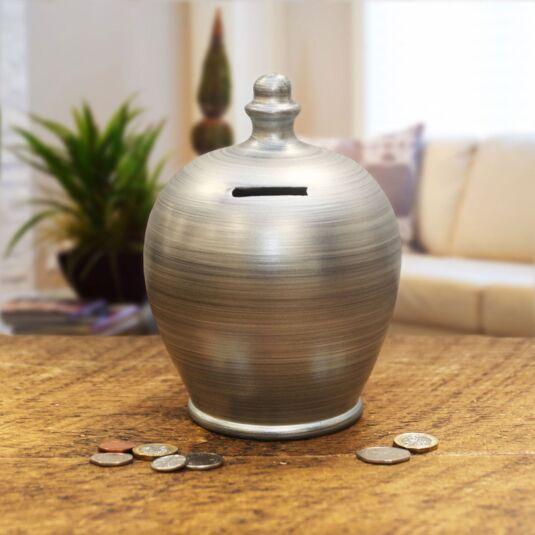 Metalic Silver Swirl Money Pot