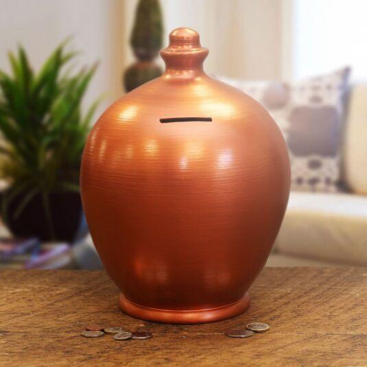 Copper Bronzed Deluxe Money Pot