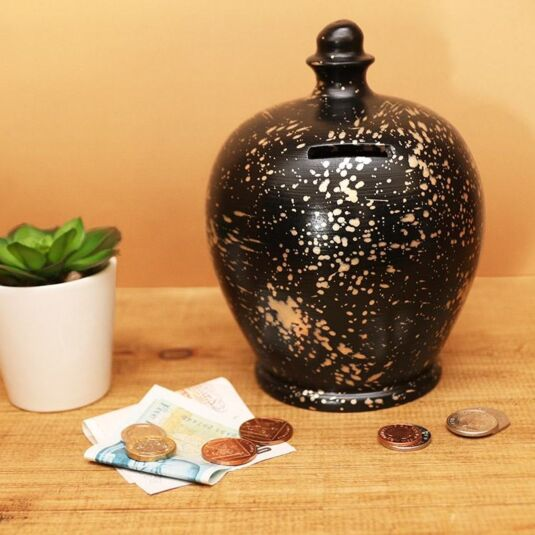 Black with Gold Graffiti Splashes Money Pot