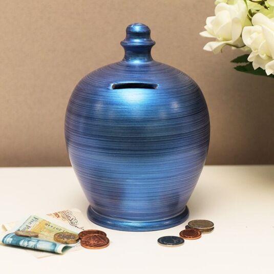 Pearlised Blue Horizontal Swirl Money Pot