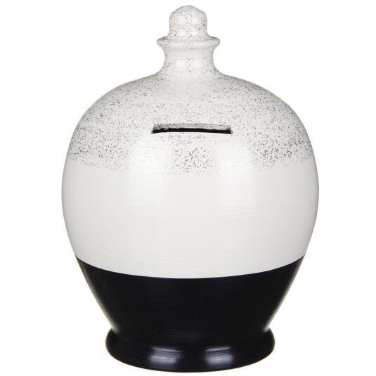 Black & Silver Glitter Money Pot