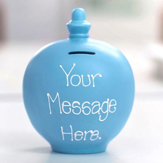 Personalisable Light Blue Money Pot