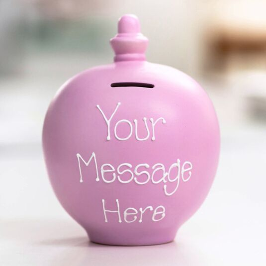 Personalisable Light Pink Small Money Pot