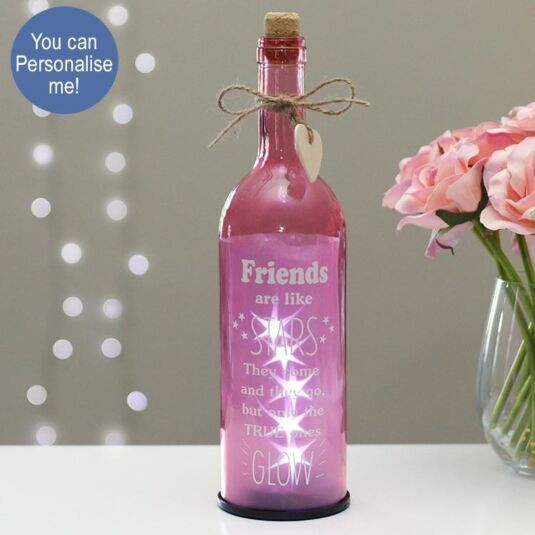 'Friends Are Like Stars' Pink Starlit Bottle