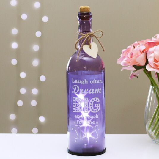 'Laugh Often, Dream Big' Purple Light Up LED Bottle