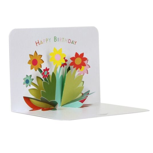 Flowers Happy Birthday 3D Card
