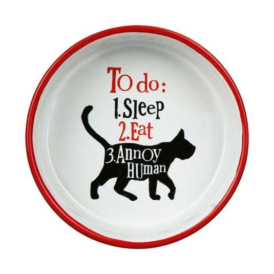 """To Do: Sleep, Eat"" Cat Bowl"