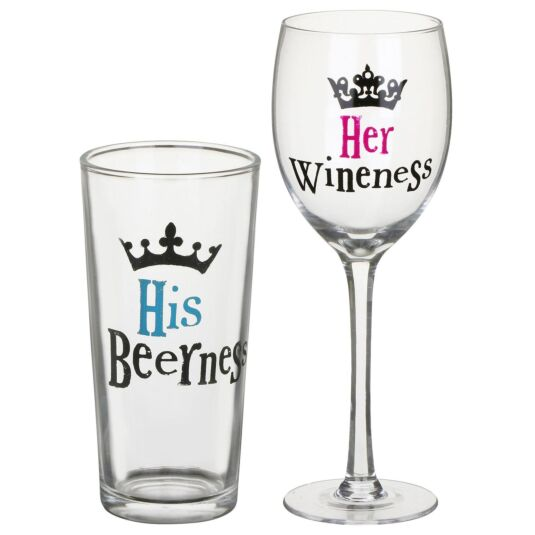 'His & Hers' Drinks Glass Set