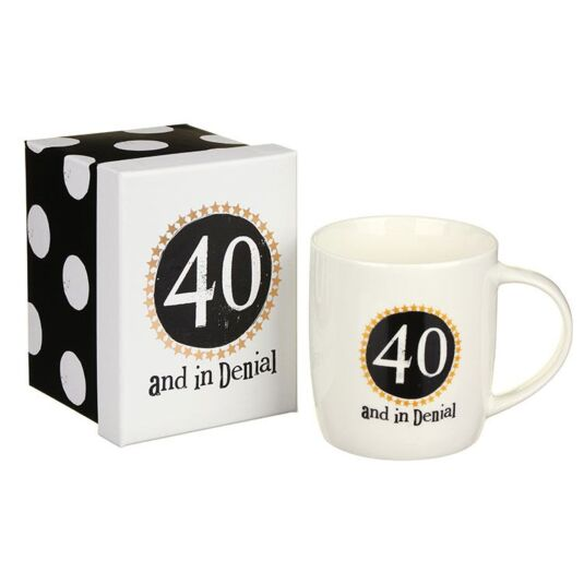 """40 in denial"" Boxed Mug"