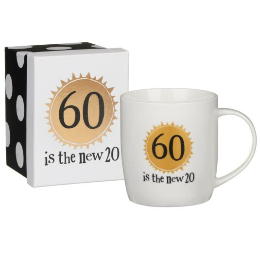 '60 is the new 20' Boxed Mug