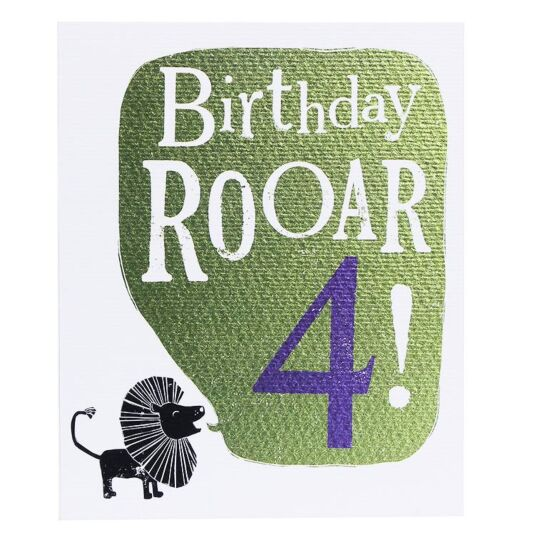 'Birthday Roar 4' Birthday Card