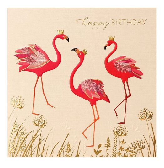 Flamingo Trio Birthday Card