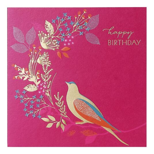 Golden Bird Birthday Card